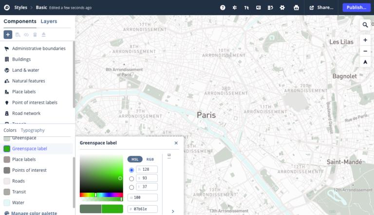 Mapbox操作画面